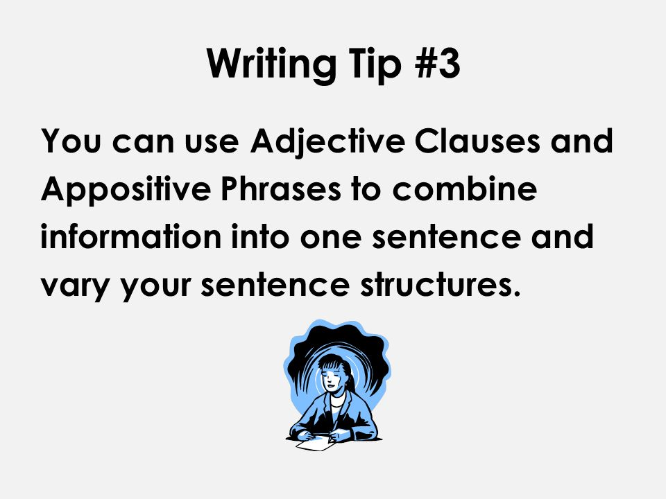 relative clause vs appositive essay An appositive is a word or group of words that describes or renames a  unlike  relative clauses, appositives are always punctuated by a comma or a set  way  naomi uses appositives to include additional facts in her essay.