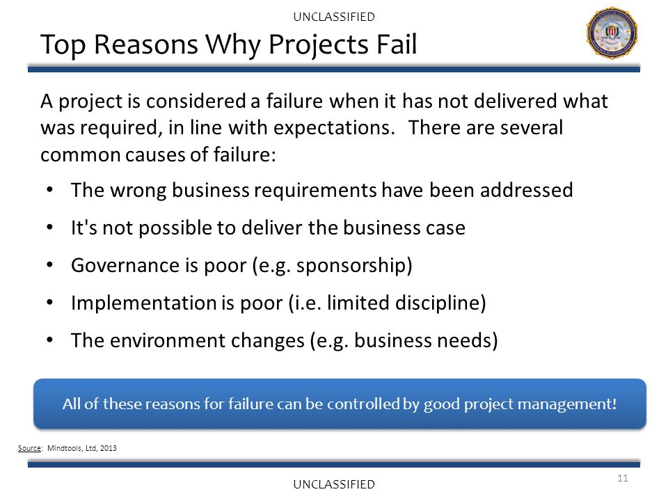 the reasons of project failure Statistics show that the real figures regarding project a business analyst's perspective: 7 reasons these are my top seven reasons for project failure.
