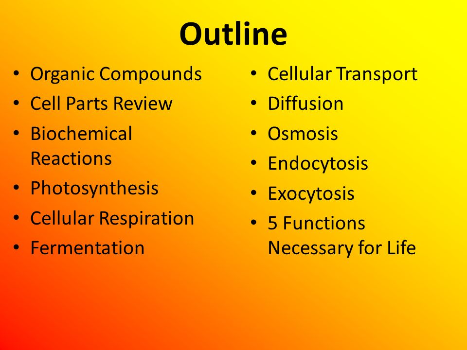 Outline Organic Compounds Cell Parts Review Biochemical Reactions
