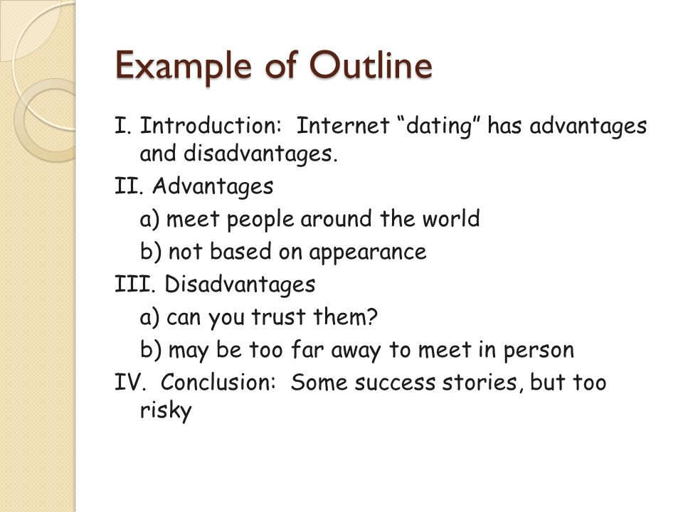Disadvantages of internet dating essay