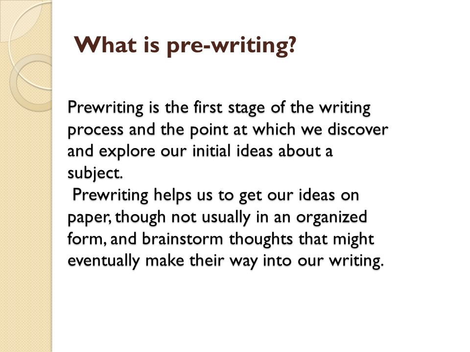 prewriting position involving a good essay
