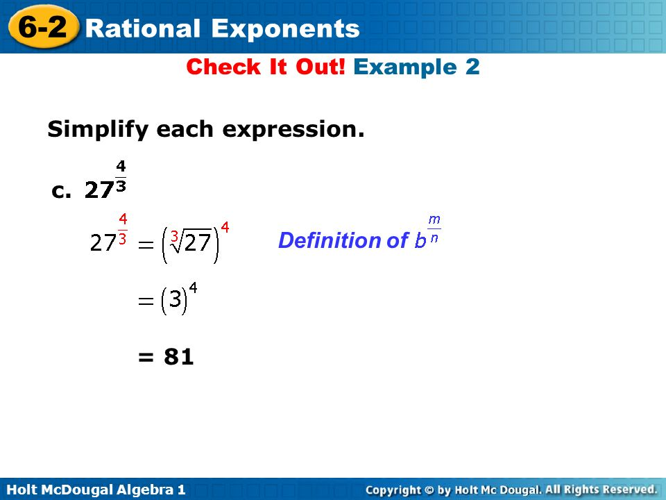 6-2 Rational Exponents Warm Up Lesson Presentation Lesson ...