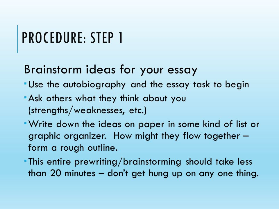 how do you brainstorm for essays I'll get ideas and then it just gets a bit hard to try and expand the idea past a few sentences how you brainstorm and try and see where you.