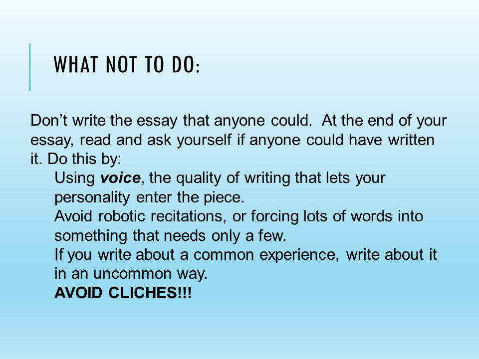 cliches to avoid when writing an essay