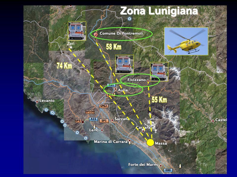 Zona Lunigiana 55 Km 58 Km 74 Km 12