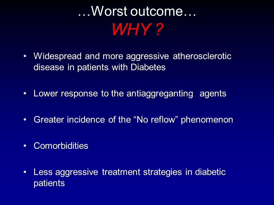 …Worst outcome… WHY Widespread and more aggressive atherosclerotic disease in patients with Diabetes.