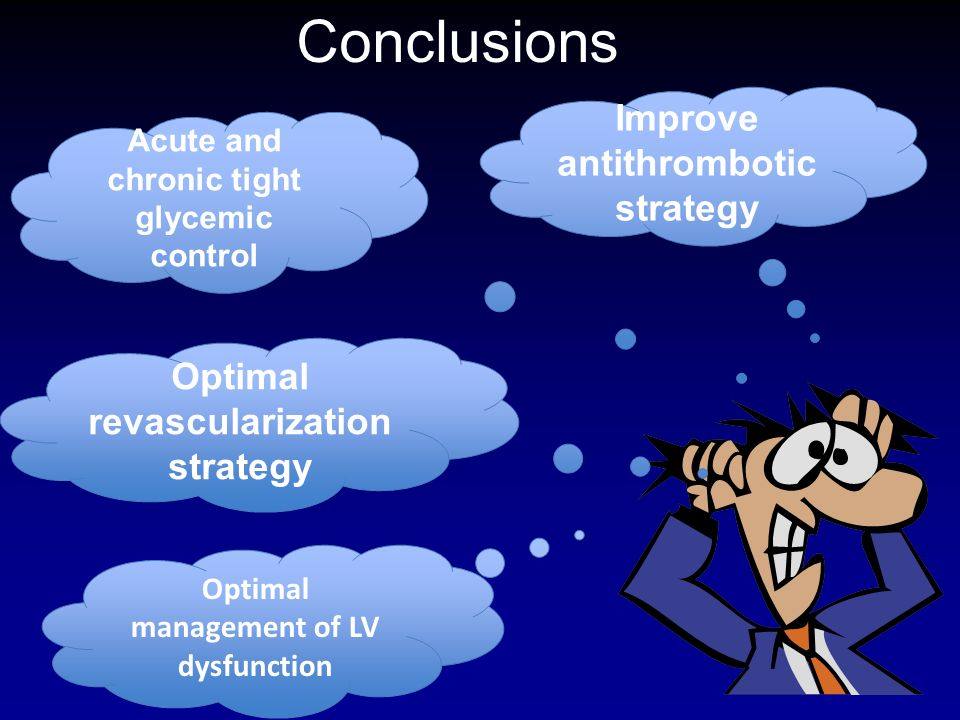 Conclusions Improve antithrombotic strategy