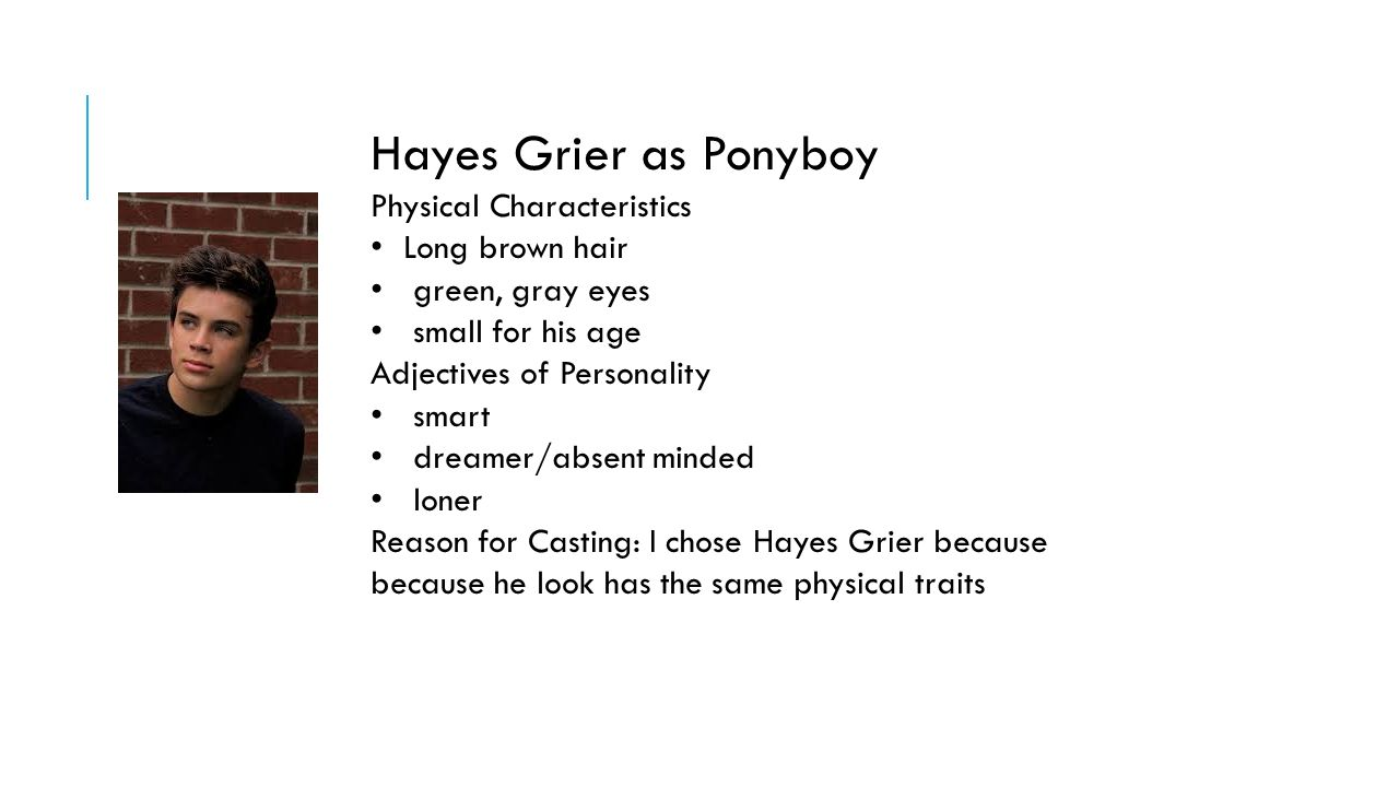 character analysis of ponyboy in the outsiders The outsiders characters from litcharts all characters ponyboy curtis darry curtis johnny cade dallas winston cherry valance (read full character analysis.