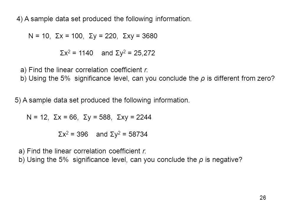 Chapter 7 Calculation of Pearson Coefficient of Correlation, r and ...