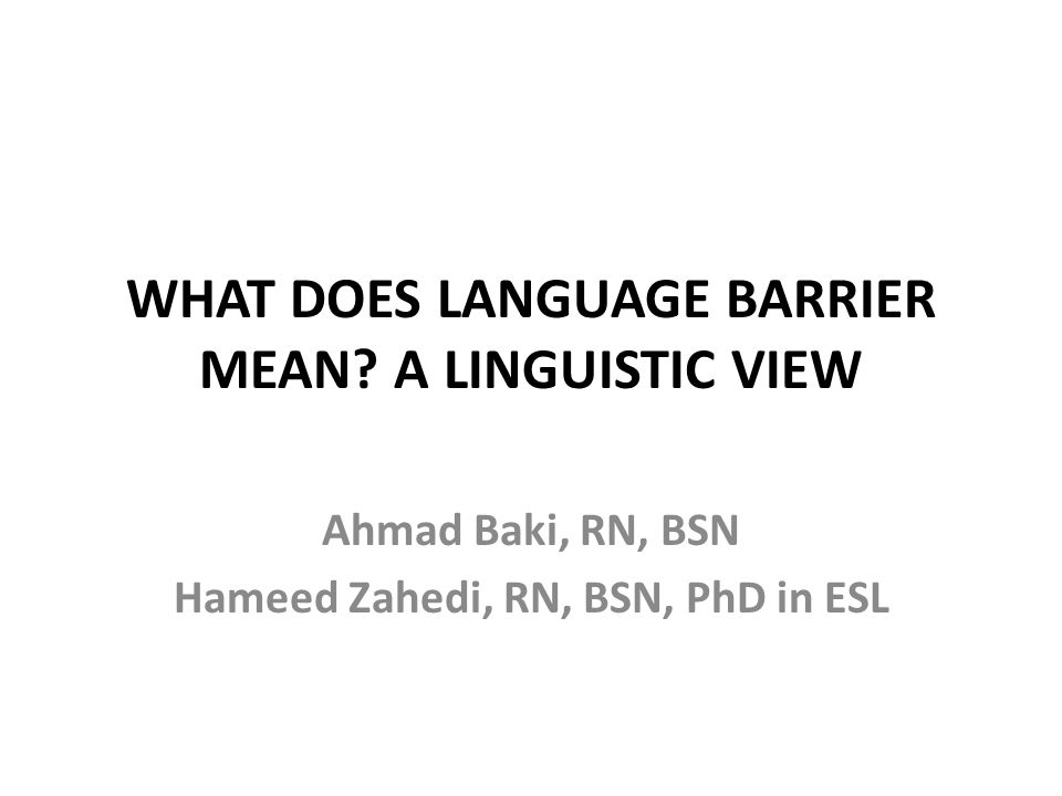 What does language barrier mean a linguistic view ppt for What does diction mean