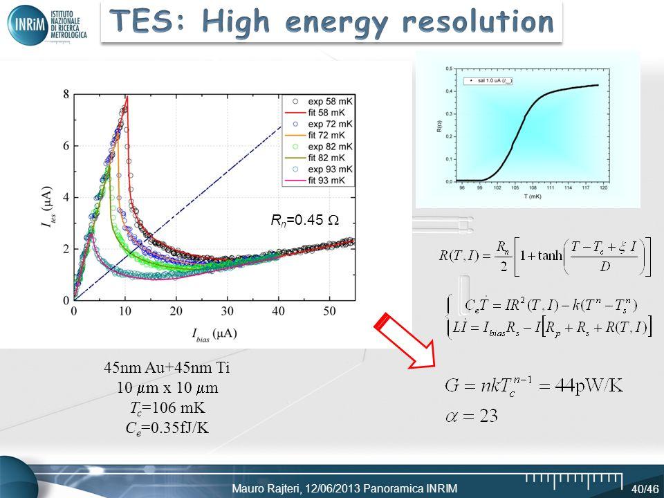 TES: High energy resolution