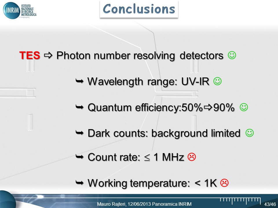 Conclusions TES  Photon number resolving detectors 