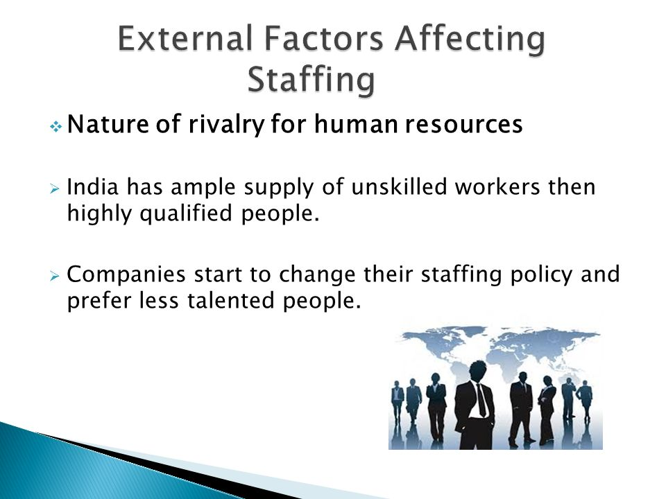 what are external factors affecting staffing International staffing: factors, issues and alternatives 1sibabrata nanda & 2amrit kumar 1,2 research scholar, ibs hyderabad, india abstract purpose - the aim of this.