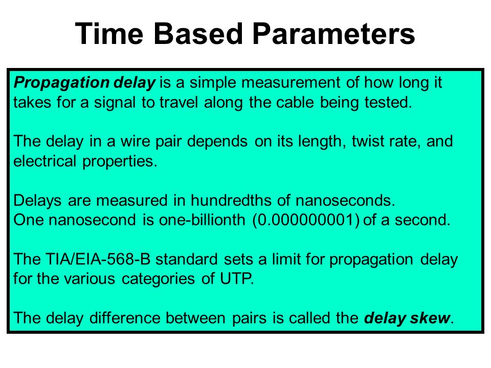 Time Based Parameters Propagation delay is a simple measurement of how long it takes for a signal to travel along the cable being tested.