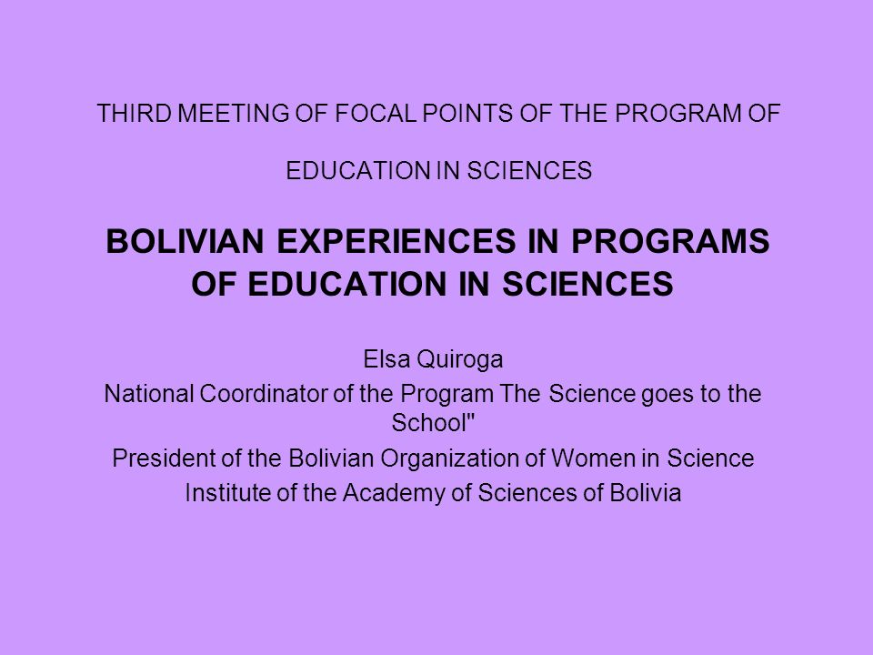 THIRD MEETING OF FOCAL POINTS OF THE PROGRAM OF EDUCATION IN SCIENCES