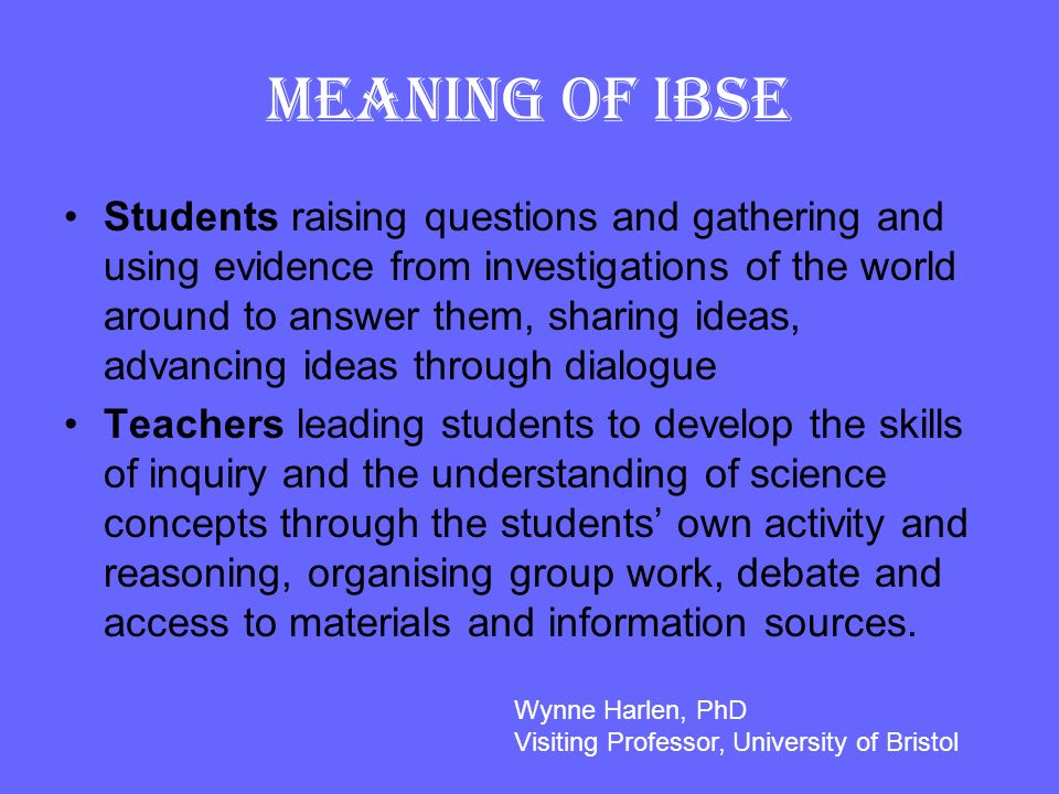 Meaning of IBSE