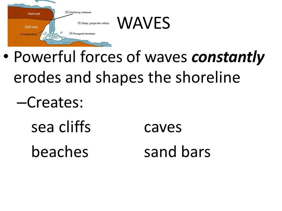 WAVES Powerful forces of waves constantly erodes and shapes the shoreline. Creates: sea cliffs caves.