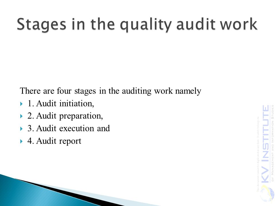 Stages in the quality audit work