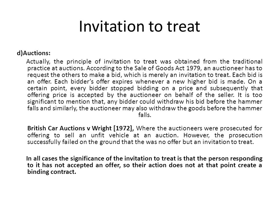 offer and invitation to treat Extracts from this document introduction the distinction between an offer and an invitation to treat is often hard to draw as it depends on the elusive criterion.