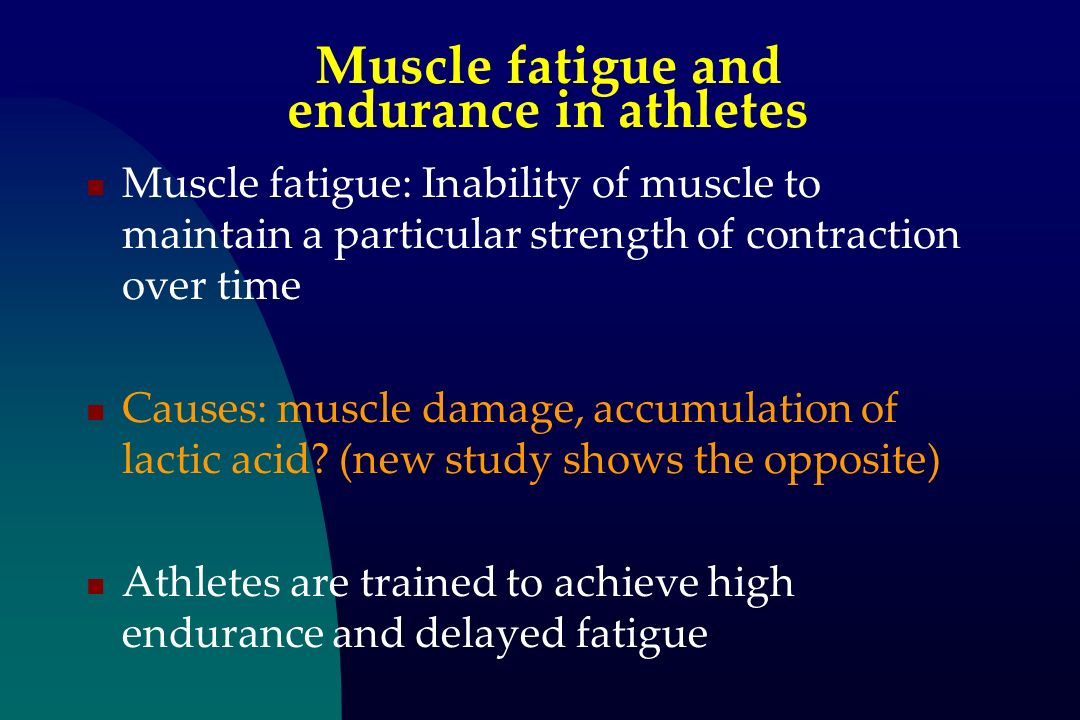 Muscle fatigue and endurance in athletes