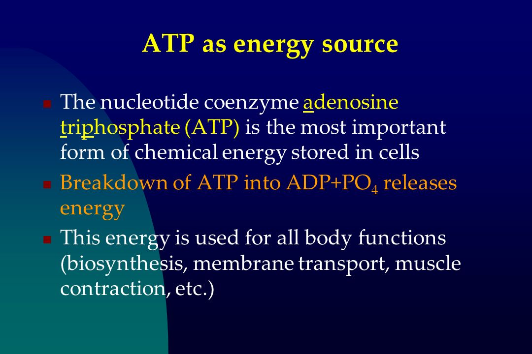 ATP as energy source The nucleotide coenzyme adenosine triphosphate (ATP) is the most important form of chemical energy stored in cells.