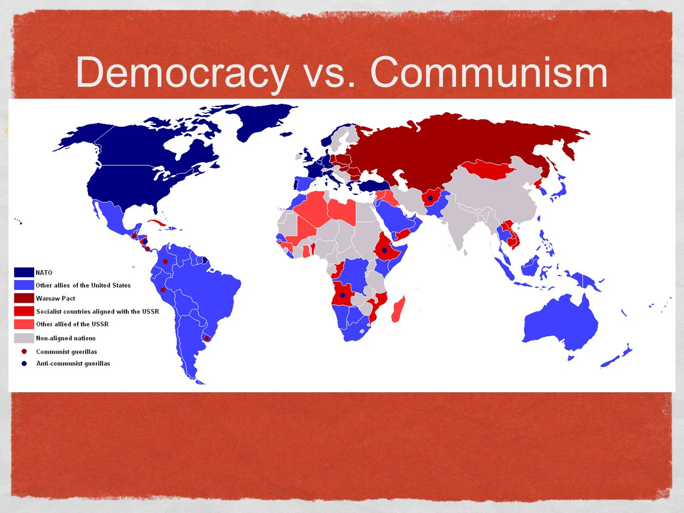 essays democracy vs communism Communism and socialism are two political systems that are focused on the treatment and equality of all members of the society these terms are often used conversely, seeing as communism was brought about from socialist ideas.
