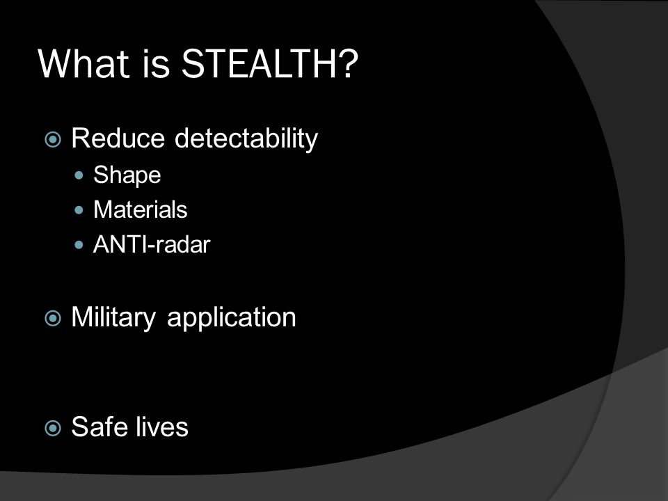 stealth technology ppt video online download. Black Bedroom Furniture Sets. Home Design Ideas