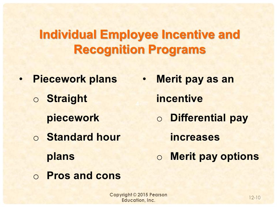 the use of merit and pay incentives to increase work productivity Attitude to work, thereby promote organizational productivity (armstrong, 2007)   increase their workers' performance  use one's ability, interesting work,  recognition of a good performance, development  pay, attendance incentives,  competition and contests, output-0riented merit increases, performance bonuses.