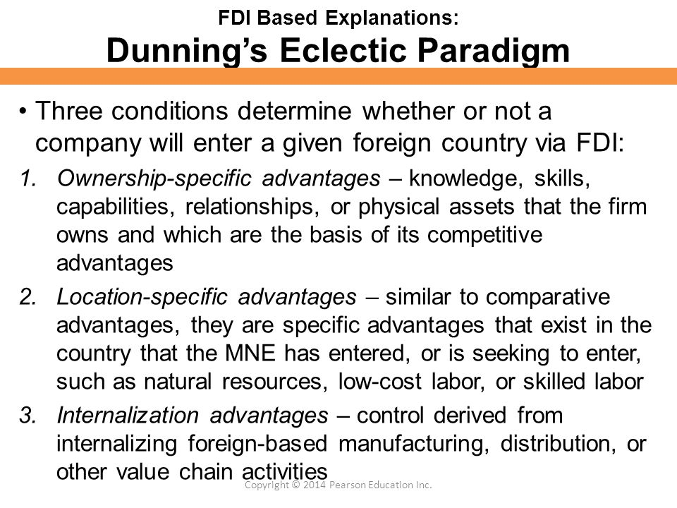 dunning s eclectic paradigm essay example The eclectic paradigm theory is also called as the oli-framework or the oli model it is an additional enhancement of the theory of internalization that was proposed in 1980 by john h dunning moreover, the internationalization theory itself is founded on the theory of transaction cost.