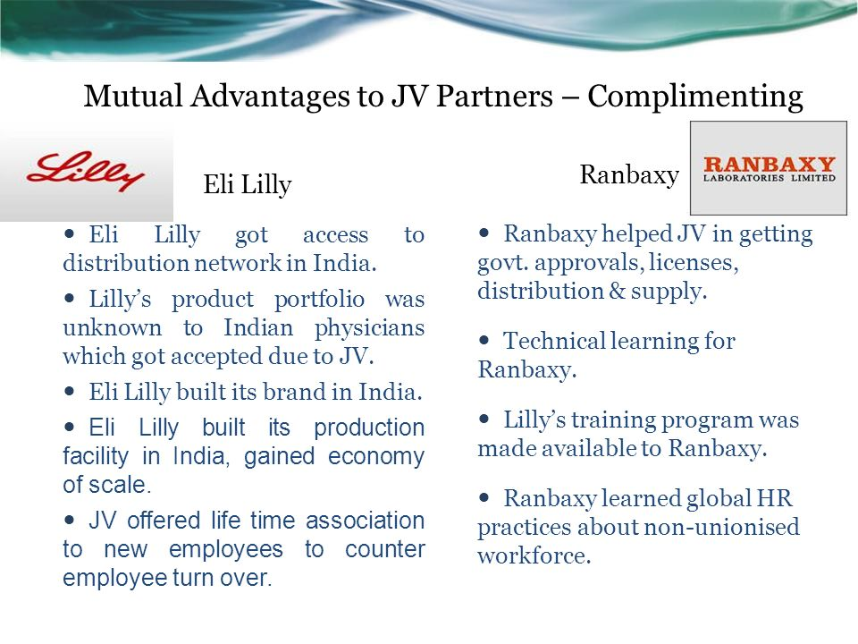 187952789 eli lilly ranbaxy joint venture The us based eli lilly and company has bought the 50 per cent stake owned  by ranbaxy laboratories in the joint venture eli lilly ranbaxy.