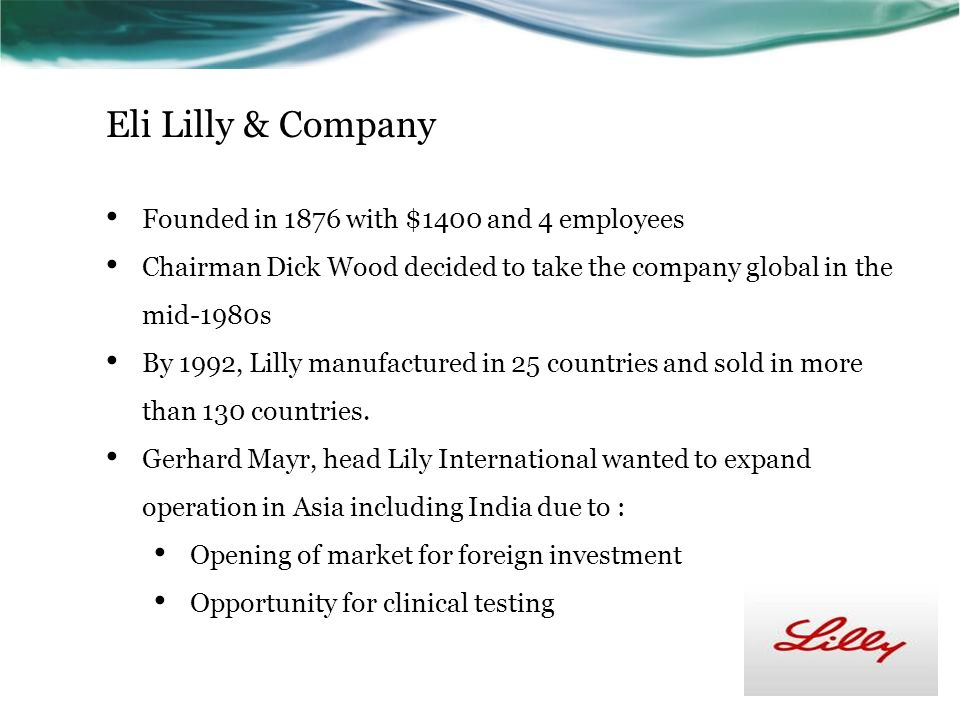 eli lilly in india rethinking Access to case studies expires six months after purchase date publication date: may 25, 2004 eli lilly and company is a leading us pharmaceutical company.