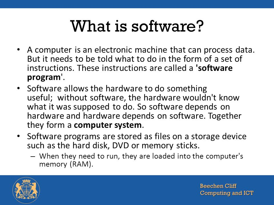 difference between a software application and We discuss two types of software: system and application software system software controls and runs the computer and application software performs or solves a specific problem.
