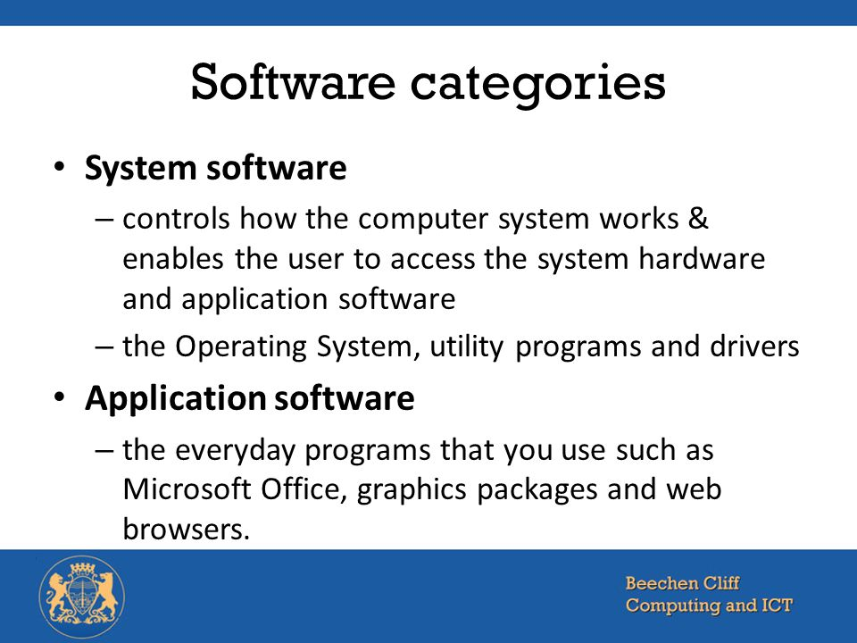Software categories System software Application software
