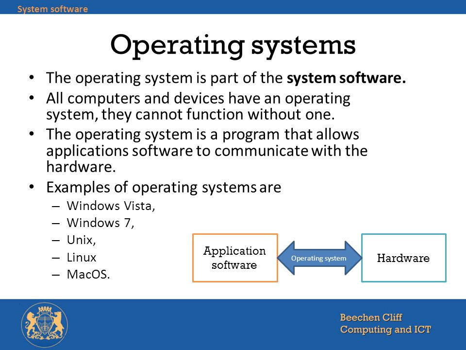 Operating systems The operating system is part of the system software.