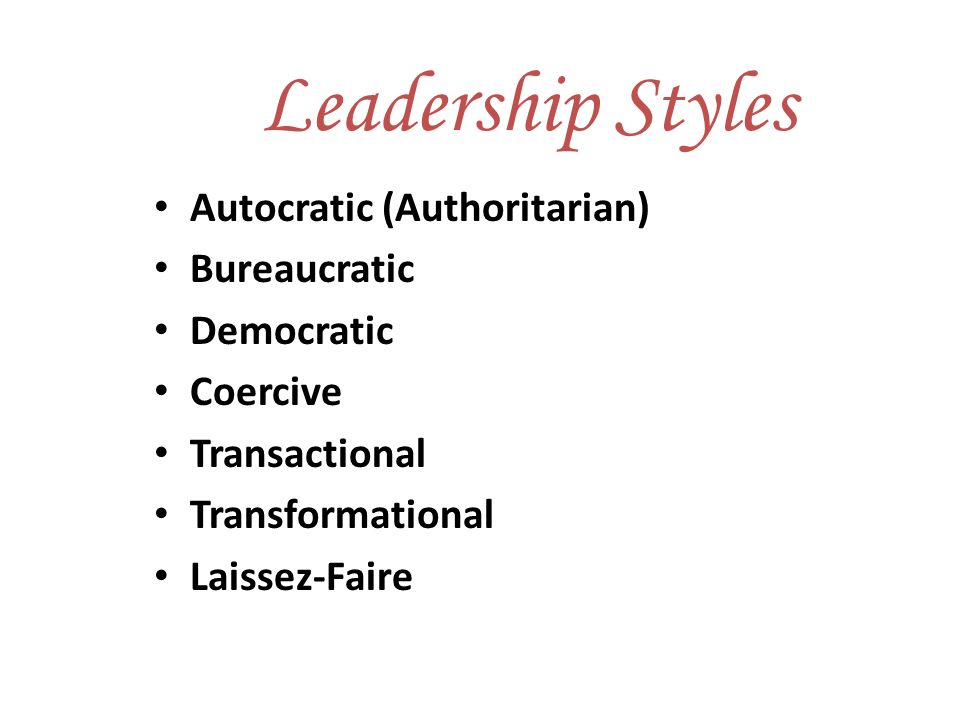 democratic and transformational styles of leadership However, the democratic style of leadership still requires guidance and control by a specific leader transformational a transformational leader is a type of person in which the leader is not limited by his or her followers' perception.