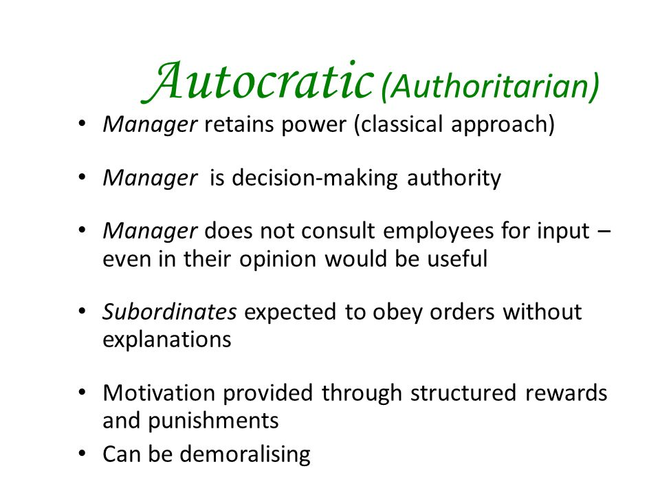 autocratic decision making In an autocratic participative decision-making style, similar to the collective style,  the leader takes control of and responsibility for the.
