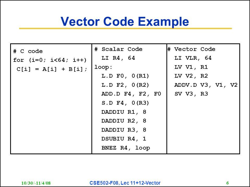 CSE 502 Graduate Computer Architecture Lec – Vector Computers - ppt ...