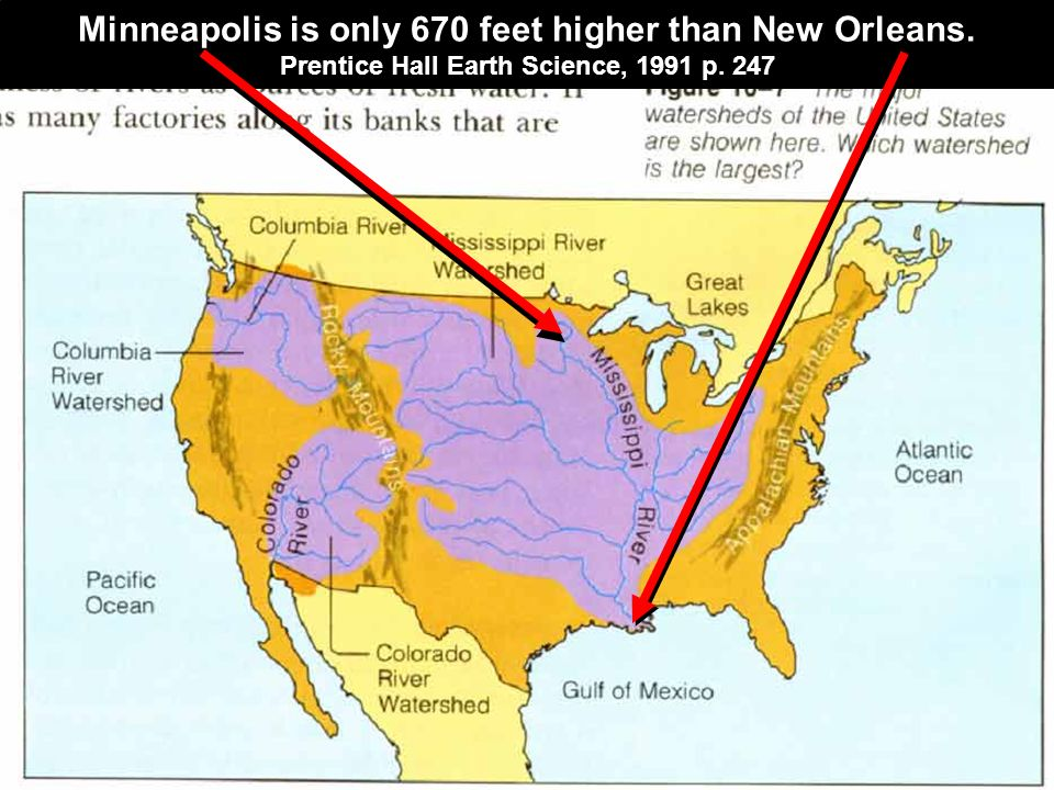 Minneapolis is only 670 feet higher than New Orleans.