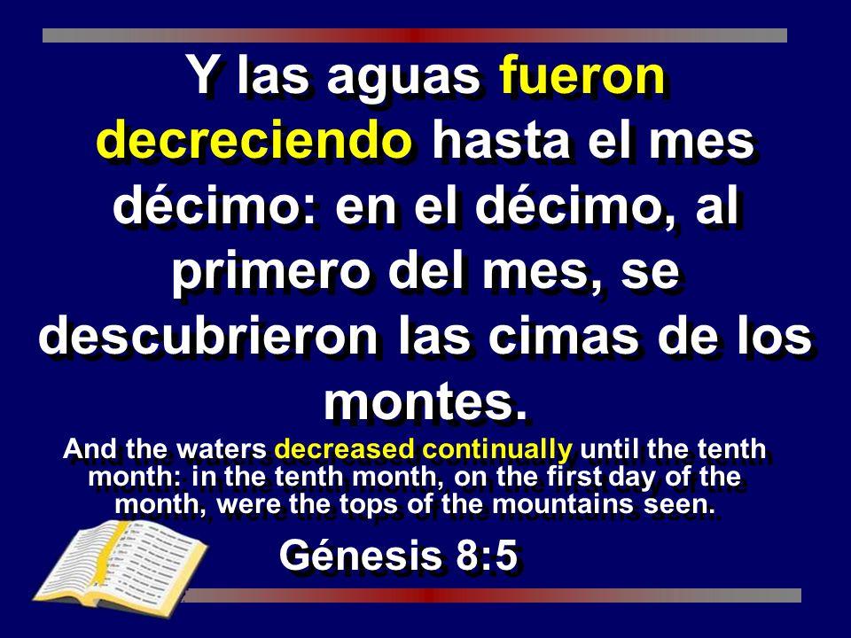 Y las aguas fueron decreciendo hasta el mes décimo: en el décimo, al primero del mes, se descubrieron las cimas de los montes.