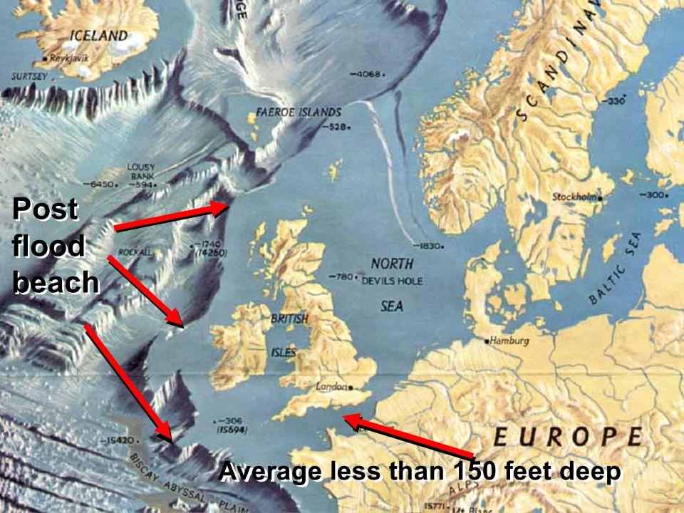Post flood beach Average less than 150 feet deep