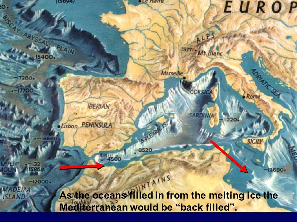 As the oceans filled in from the melting ice the Mediterranean would be back filled .