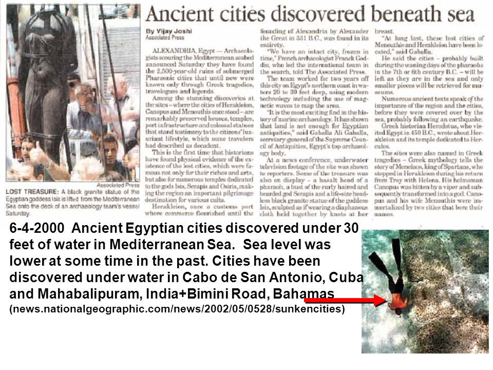 6-4-2000 Ancient Egyptian cities discovered under 30 feet of water in Mediterranean Sea.