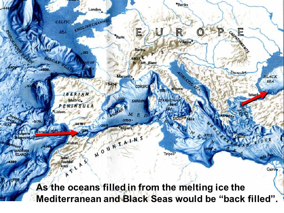 As the oceans filled in from the melting ice the Mediterranean and Black Seas would be back filled .