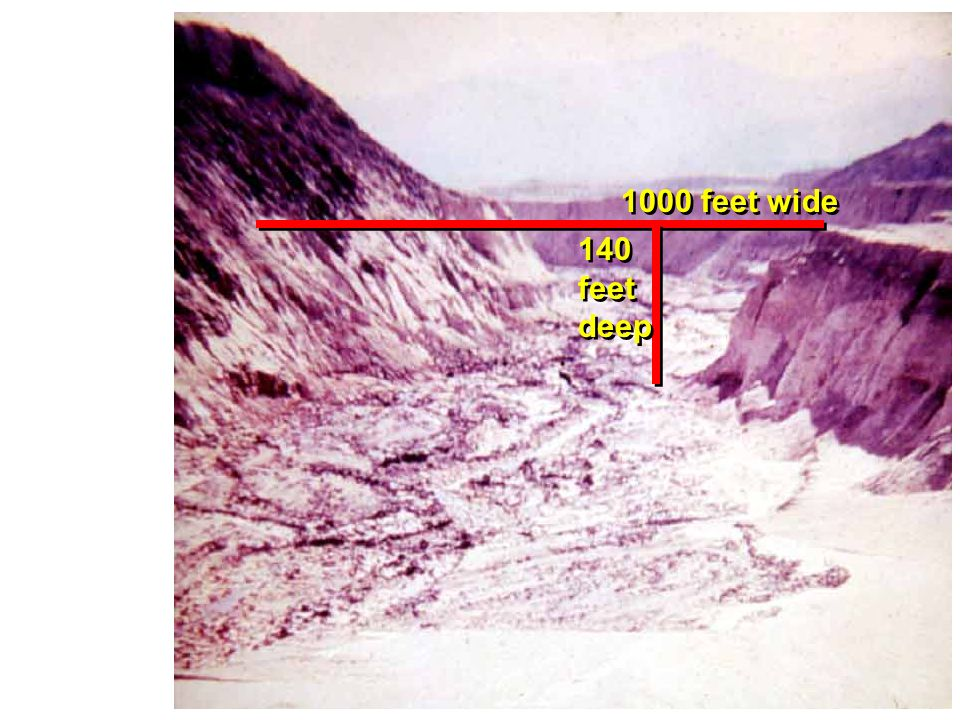 New canyon formed in a few hours by rapid water flow NE of Mt. St