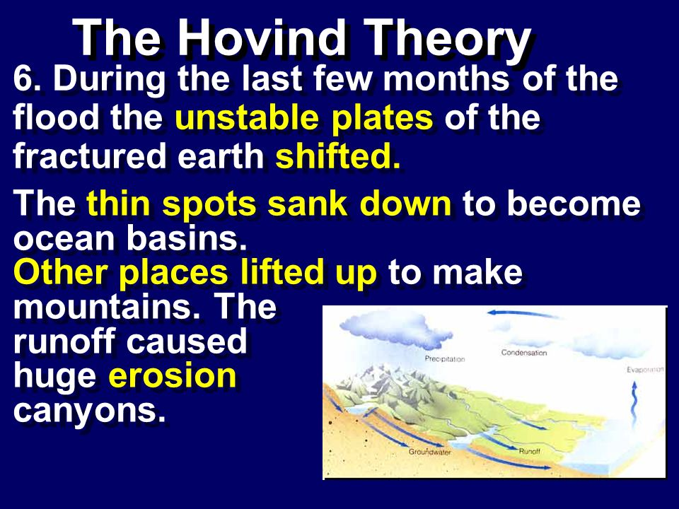 The Hovind Theory 6. During the last few months of the flood the unstable plates of the fractured earth shifted.