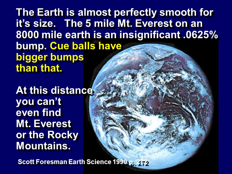 The Earth is almost perfectly smooth for it's size. The 5 mile Mt