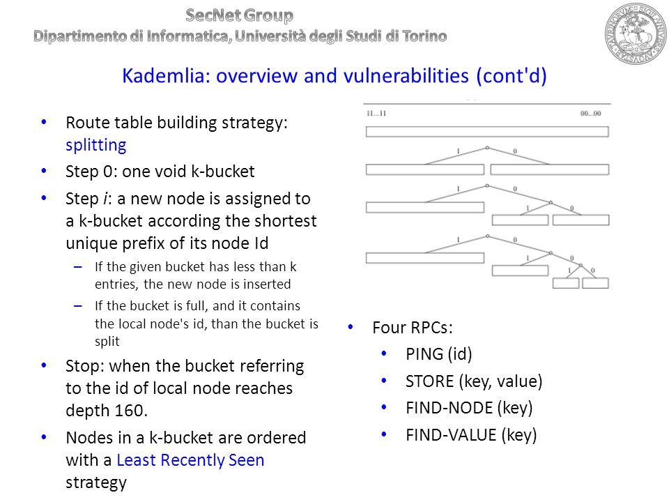 Kademlia: overview and vulnerabilities (cont d)
