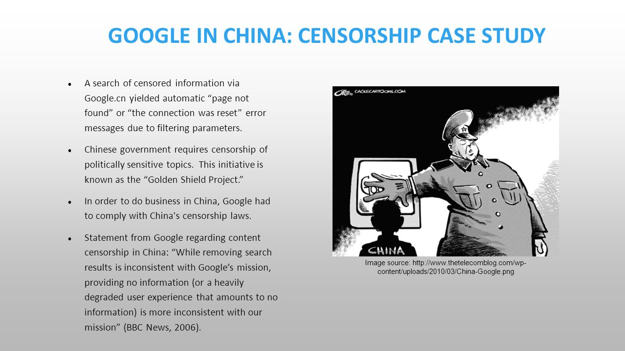 google in china case study solution Search results please enter some keywords or specify other criteria to search for products not yet registered with us register with us today: the case centre is dedicated to advancing the case method worldwide, sharing knowledge.