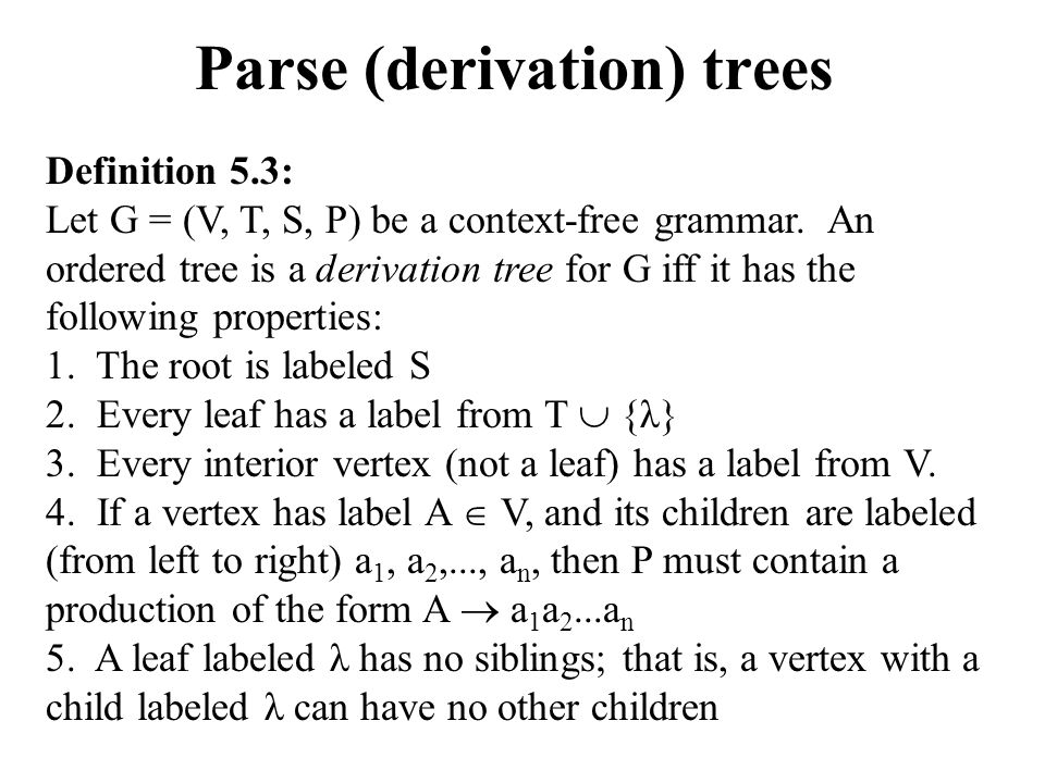 Parse (derivation) Trees