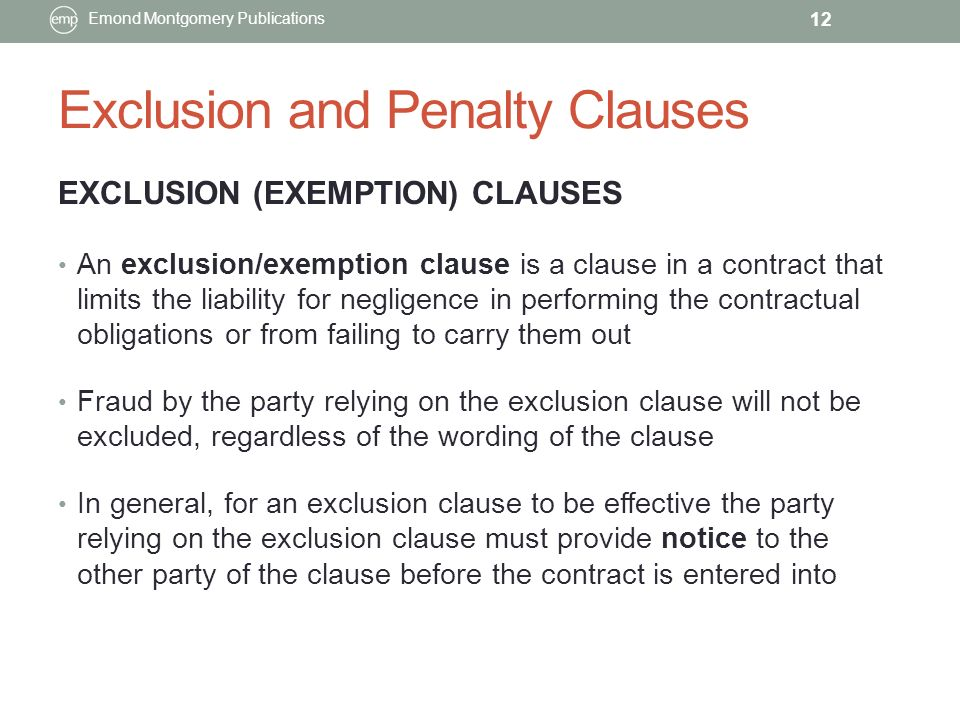 Chapter 7 contract interpretation ppt video online download exclusion and penalty clauses pronofoot35fo Image collections